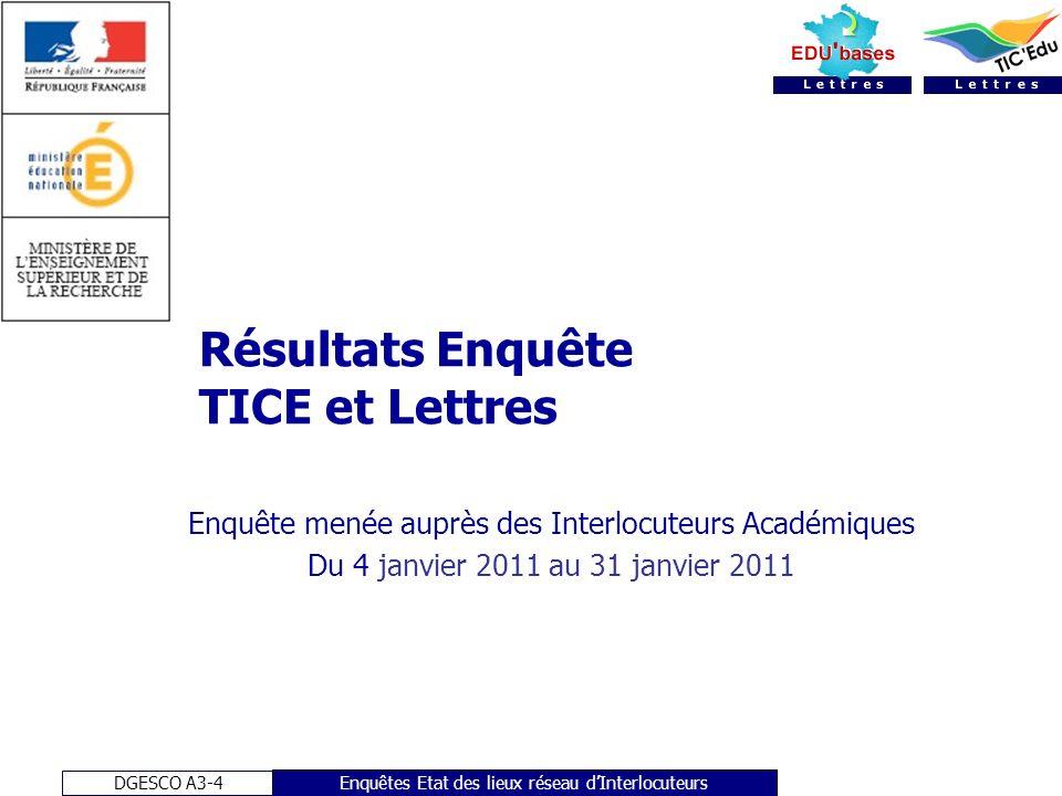 DGESCO-A3-4 Réunion nationale des Interlocuteurs Lettres 3 et 4 février 2011 Enquête Interlocuteurs - Lettres Echantillon total: 28 observations 1.