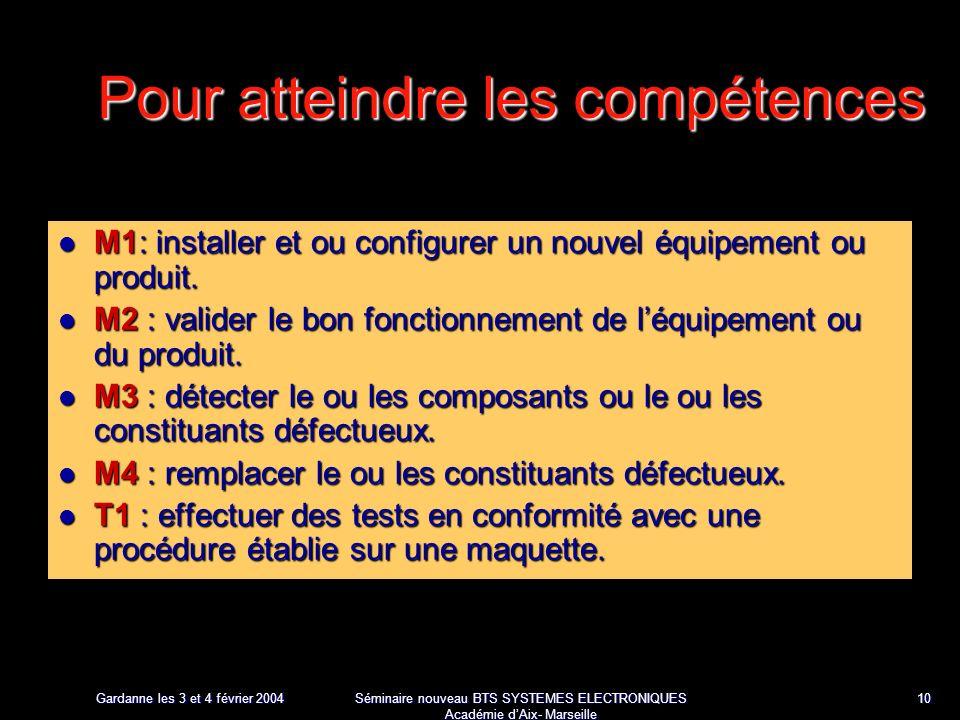 Gardanne les 3 et 4 février 2004 Séminaire nouveau BTS SYSTEMES ELECTRONIQUES Académie dAix- Marseille 10 Pour atteindre les compétences M1: installer et ou configurer un nouvel équipement ou produit.
