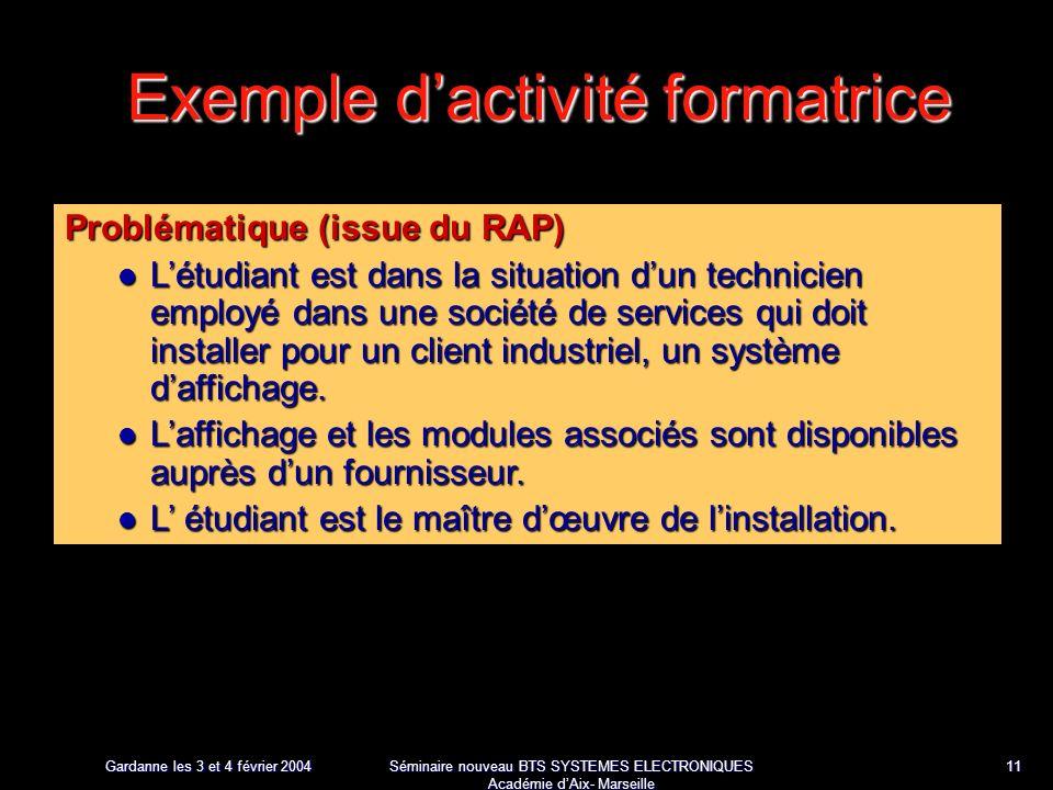 Gardanne les 3 et 4 février 2004 Séminaire nouveau BTS SYSTEMES ELECTRONIQUES Académie dAix- Marseille 11 Exemple dactivité formatrice Problématique (issue du RAP) Létudiant est dans la situation dun technicien employé dans une société de services qui doit installer pour un client industriel, un système daffichage.