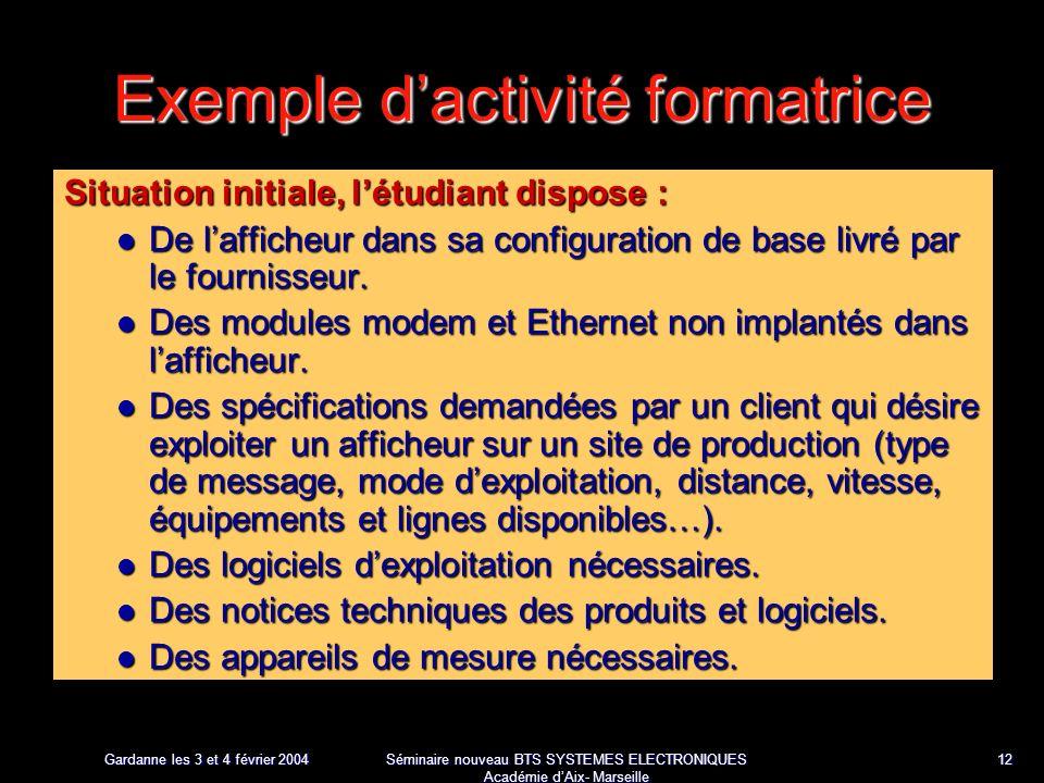Gardanne les 3 et 4 février 2004 Séminaire nouveau BTS SYSTEMES ELECTRONIQUES Académie dAix- Marseille 12 Exemple dactivité formatrice Situation initiale, létudiant dispose : De lafficheur dans sa configuration de base livré par le fournisseur.