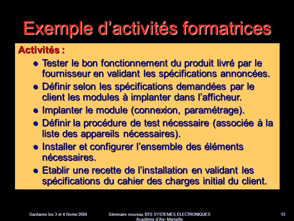 Gardanne les 3 et 4 février 2004 Séminaire nouveau BTS SYSTEMES ELECTRONIQUES Académie dAix- Marseille 13 Exemple dactivités formatrices Activités : Tester le bon fonctionnement du produit livré par le fournisseur en validant les spécifications annoncées.