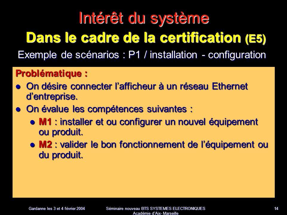 Gardanne les 3 et 4 février 2004 Séminaire nouveau BTS SYSTEMES ELECTRONIQUES Académie dAix- Marseille 14 Intérêt du système Dans le cadre de la certification (E5) Exemple de scénarios : P1 / installation - configuration Problématique : On désire connecter lafficheur à un réseau Ethernet dentreprise.