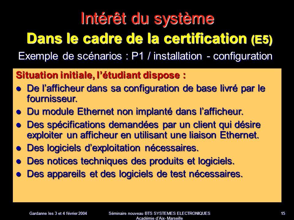 Gardanne les 3 et 4 février 2004 Séminaire nouveau BTS SYSTEMES ELECTRONIQUES Académie dAix- Marseille 15 Intérêt du système Dans le cadre de la certification (E5) Exemple de scénarios : P1 / installation - configuration Situation initiale, létudiant dispose : De lafficheur dans sa configuration de base livré par le fournisseur.