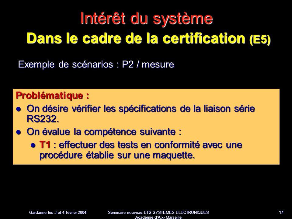 Gardanne les 3 et 4 février 2004 Séminaire nouveau BTS SYSTEMES ELECTRONIQUES Académie dAix- Marseille 17 Intérêt du système Dans le cadre de la certification (E5) Exemple de scénarios : P2 / mesure Problématique : On désire vérifier les spécifications de la liaison série RS232.