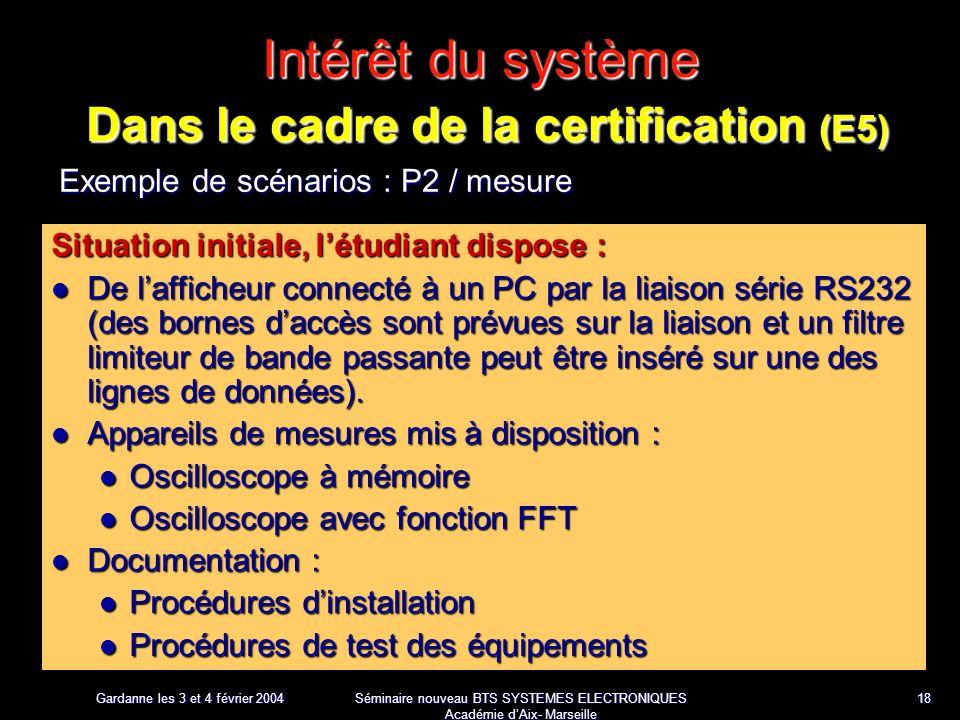 Gardanne les 3 et 4 février 2004 Séminaire nouveau BTS SYSTEMES ELECTRONIQUES Académie dAix- Marseille 18 Intérêt du système Dans le cadre de la certification (E5) Exemple de scénarios : P2 / mesure Situation initiale, létudiant dispose : De lafficheur connecté à un PC par la liaison série RS232 (des bornes daccès sont prévues sur la liaison et un filtre limiteur de bande passante peut être inséré sur une des lignes de données).