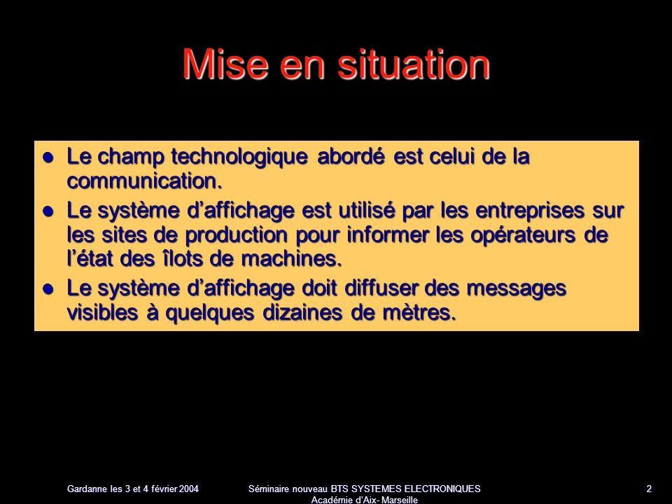 Gardanne les 3 et 4 février 2004 Séminaire nouveau BTS SYSTEMES ELECTRONIQUES Académie dAix- Marseille 2 Mise en situation Le champ technologique abordé est celui de la communication.