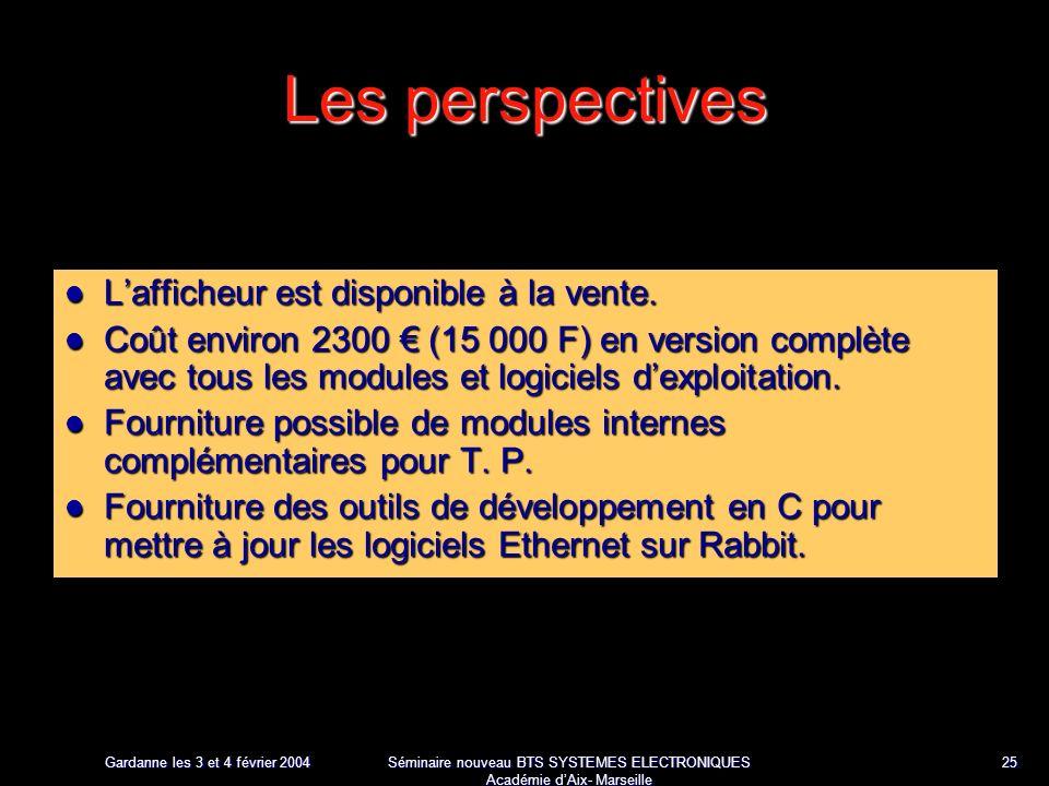 Gardanne les 3 et 4 février 2004 Séminaire nouveau BTS SYSTEMES ELECTRONIQUES Académie dAix- Marseille 25 Les perspectives Lafficheur est disponible à la vente.