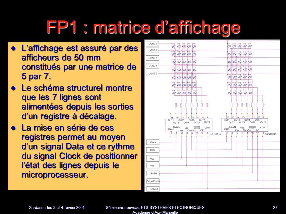 Gardanne les 3 et 4 février 2004 Séminaire nouveau BTS SYSTEMES ELECTRONIQUES Académie dAix- Marseille 27 FP1 : matrice daffichage Laffichage est assuré par des afficheurs de 50 mm constitués par une matrice de 5 par 7.
