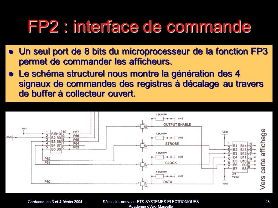 Gardanne les 3 et 4 février 2004 Séminaire nouveau BTS SYSTEMES ELECTRONIQUES Académie dAix- Marseille 28 FP2 : interface de commande Un seul port de 8 bits du microprocesseur de la fonction FP3 permet de commander les afficheurs.