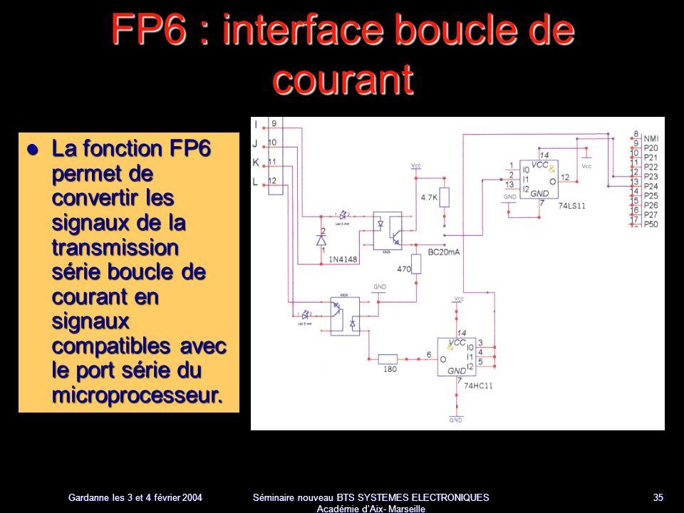 Gardanne les 3 et 4 février 2004 Séminaire nouveau BTS SYSTEMES ELECTRONIQUES Académie dAix- Marseille 35 FP6 : interface boucle de courant La fonction FP6 permet de convertir les signaux de la transmission série boucle de courant en signaux compatibles avec le port série du microprocesseur.