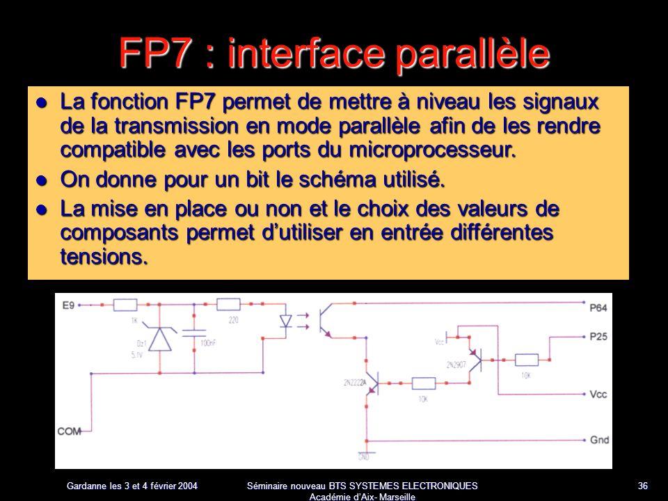 Gardanne les 3 et 4 février 2004 Séminaire nouveau BTS SYSTEMES ELECTRONIQUES Académie dAix- Marseille 36 FP7 : interface parallèle La fonction FP7 permet de mettre à niveau les signaux de la transmission en mode parallèle afin de les rendre compatible avec les ports du microprocesseur.