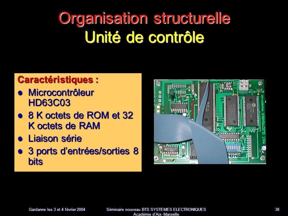 Gardanne les 3 et 4 février 2004 Séminaire nouveau BTS SYSTEMES ELECTRONIQUES Académie dAix- Marseille 38 Organisation structurelle Unité de contrôle Caractéristiques : Microcontrôleur HD63C03 Microcontrôleur HD63C03 8 K octets de ROM et 32 K octets de RAM 8 K octets de ROM et 32 K octets de RAM Liaison série Liaison série 3 ports dentrées/sorties 8 bits 3 ports dentrées/sorties 8 bits