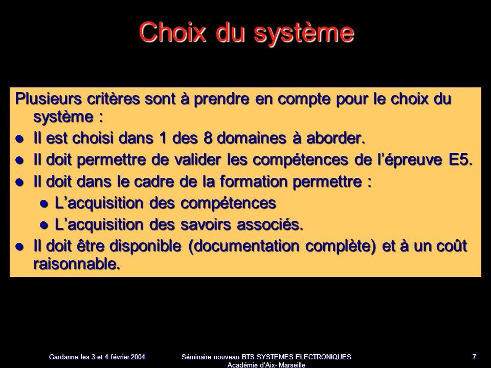 Gardanne les 3 et 4 février 2004 Séminaire nouveau BTS SYSTEMES ELECTRONIQUES Académie dAix- Marseille 8 Intérêt du système Dans le cadre de la formation Acquisition des compétences et des savoirs Le système présenté permet de couvrir toutes les compétences à évaluer.