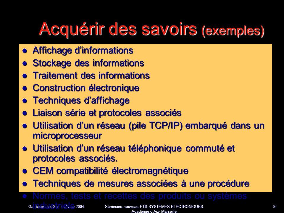 Gardanne les 3 et 4 février 2004 Séminaire nouveau BTS SYSTEMES ELECTRONIQUES Académie dAix- Marseille 30 FP3 : unité de traitement La fonction FP3 est construite autour dun microcontrôleur 8 bits associé à une mémoire EPROM de 8 k octets et à une RAM de 64 k octets qui contient les messages mémorisés.