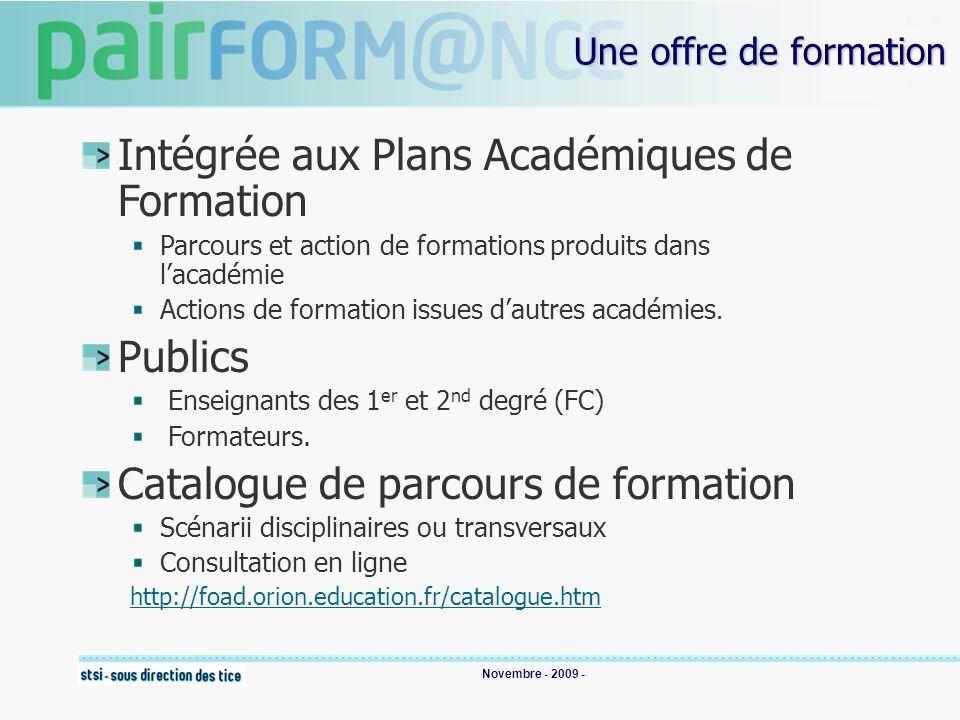 Novembre - 2009 - Une offre de formation Intégrée aux Plans Académiques de Formation Parcours et action de formations produits dans lacadémie Actions de formation issues dautres académies.