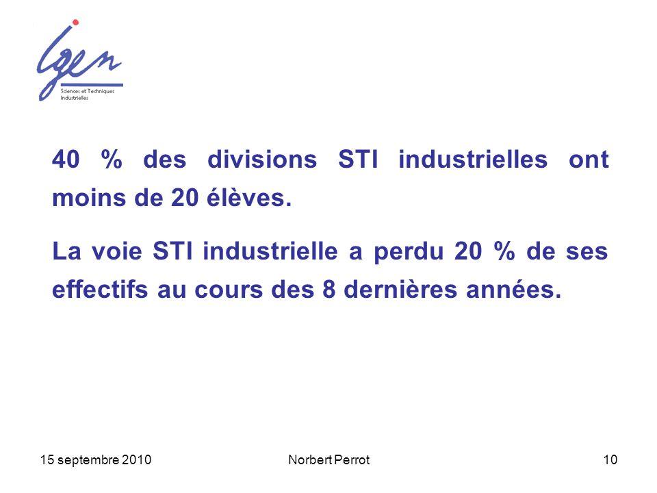 15 septembre 2010Norbert Perrot10 40 % des divisions STI industrielles ont moins de 20 élèves. La voie STI industrielle a perdu 20 % de ses effectifs