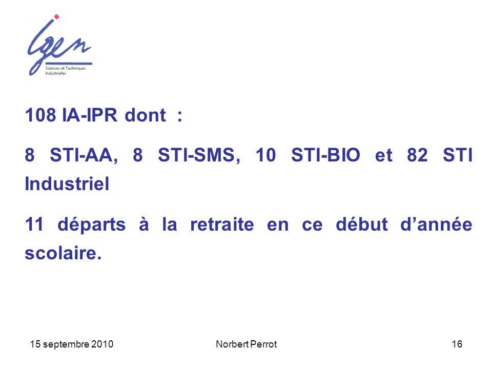 15 septembre 2010Norbert Perrot16 108 IA-IPR dont : 8 STI-AA, 8 STI-SMS, 10 STI-BIO et 82 STI Industriel 11 départs à la retraite en ce début dannée s