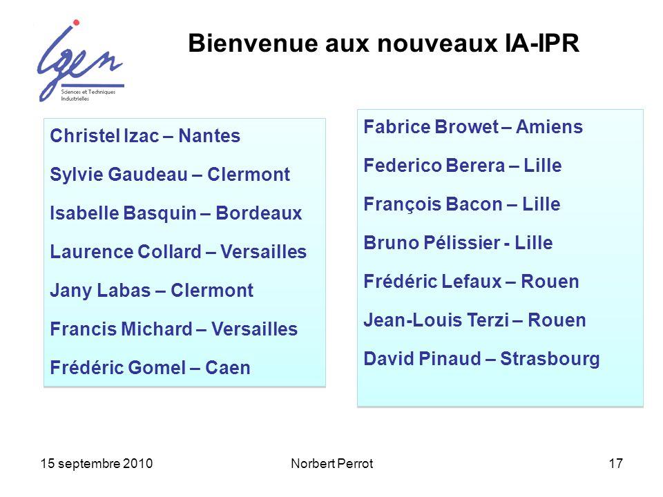 15 septembre 2010Norbert Perrot17 Christel Izac – Nantes Sylvie Gaudeau – Clermont Isabelle Basquin – Bordeaux Laurence Collard – Versailles Jany Laba
