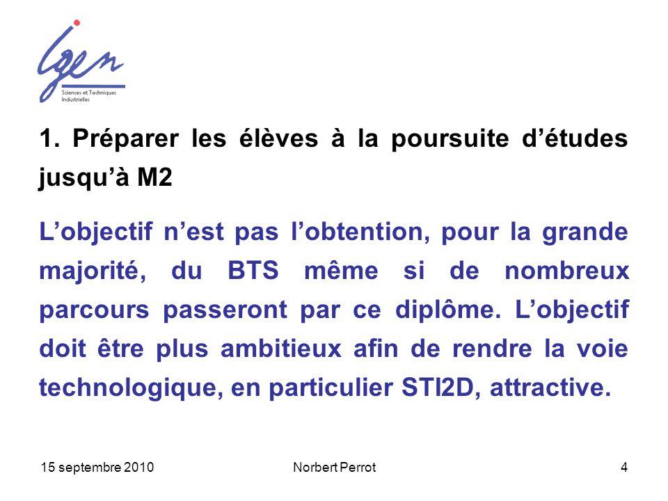 15 septembre 2010Norbert Perrot4 1. Préparer les élèves à la poursuite détudes jusquà M2 Lobjectif nest pas lobtention, pour la grande majorité, du BT