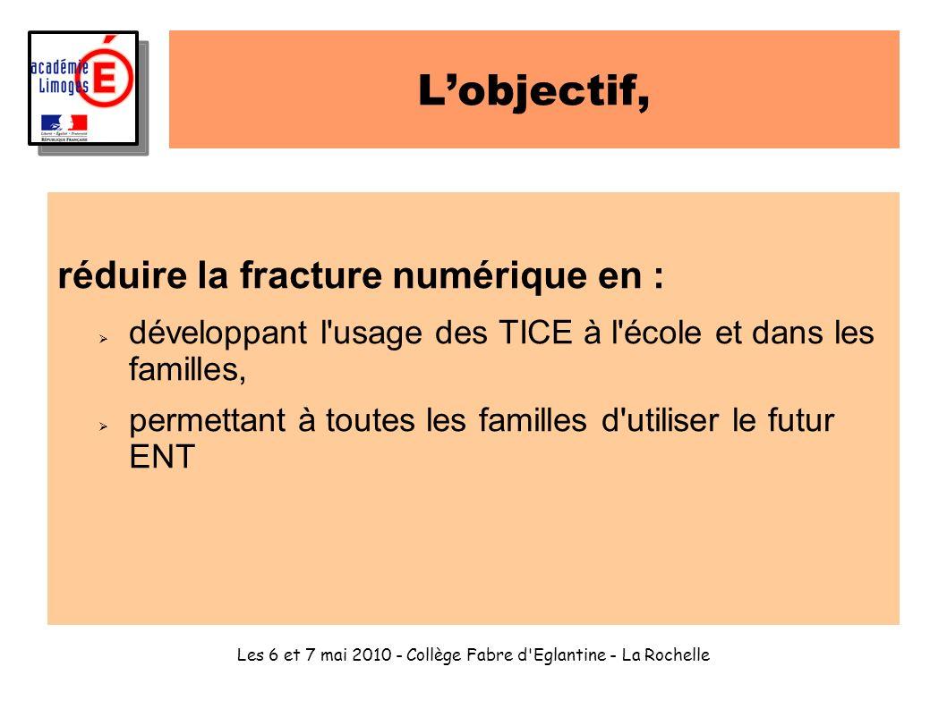 Les 6 et 7 mai 2010 - Collège Fabre d'Eglantine - La Rochelle Lobjectif, réduire la fracture numérique en : développant l'usage des TICE à l'école et