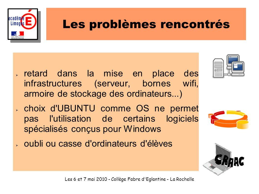 Les 6 et 7 mai 2010 - Collège Fabre d'Eglantine - La Rochelle Les problèmes rencontrés retard dans la mise en place des infrastructures (serveur, born