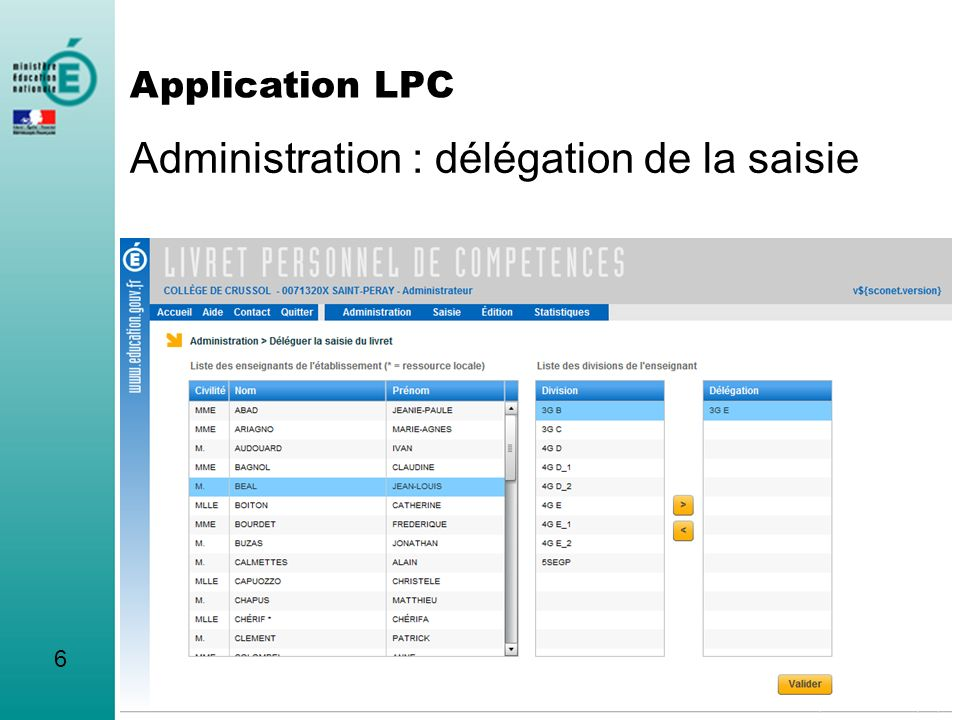 Administration : choix de la langue A2 7 Application LPC