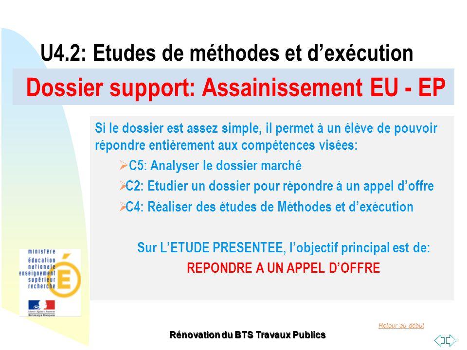 Retour au début Rénovation du BTS Travaux Publics Dossier support: Assainissement EU - EP U4.2: Etudes de méthodes et dexécution Si le dossier est ass