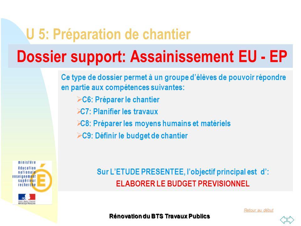 Retour au début Rénovation du BTS Travaux Publics Dossier support: Assainissement EU - EP U 5: Préparation de chantier Ce type de dossier permet à un