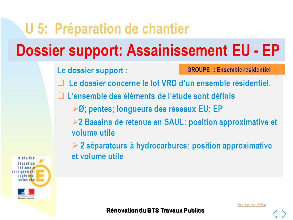 Retour au début Rénovation du BTS Travaux Publics Dossier support: Assainissement EU - EP U 5: Préparation de chantier Le dossier support : Le dossier
