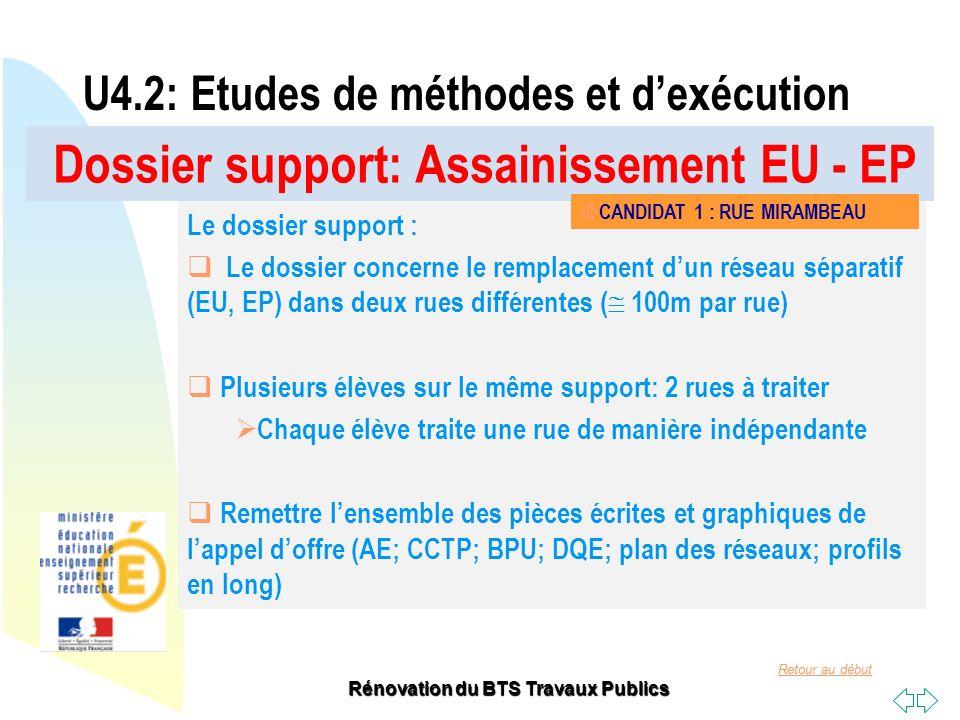 Retour au début Rénovation du BTS Travaux Publics Dossier support: Assainissement EU - EP U4.2: Etudes de méthodes et dexécution Le dossier support :