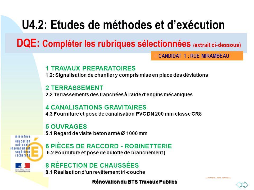 Retour au début Rénovation du BTS Travaux Publics DQE: Compléter les rubriques sélectionnées ( extrait ci-dessous) U4.2: Etudes de méthodes et dexécut