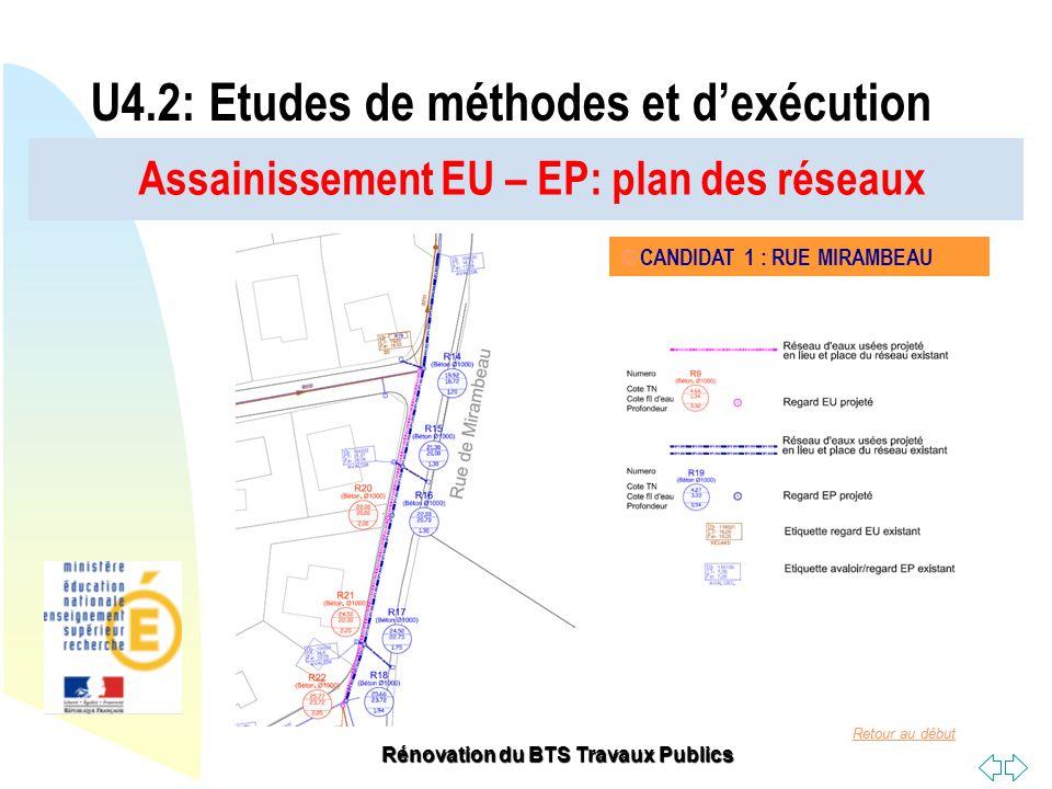 Retour au début Rénovation du BTS Travaux Publics Assainissement EU – EP: plan des réseaux U4.2: Etudes de méthodes et dexécution CANDIDAT 1 : RUE MIR