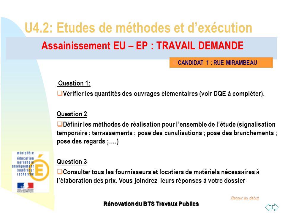 Retour au début Rénovation du BTS Travaux Publics Assainissement EU – EP : TRAVAIL DEMANDE U4.2: Etudes de méthodes et dexécution CANDIDAT 1 : RUE MIR