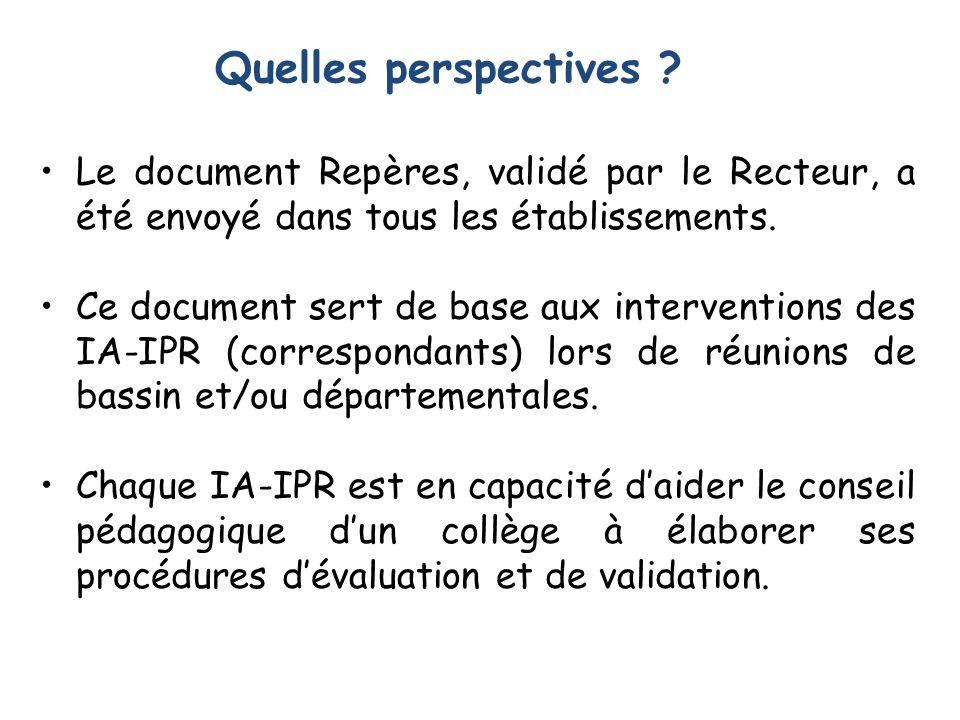 Le document Repères, validé par le Recteur, a été envoyé dans tous les établissements.