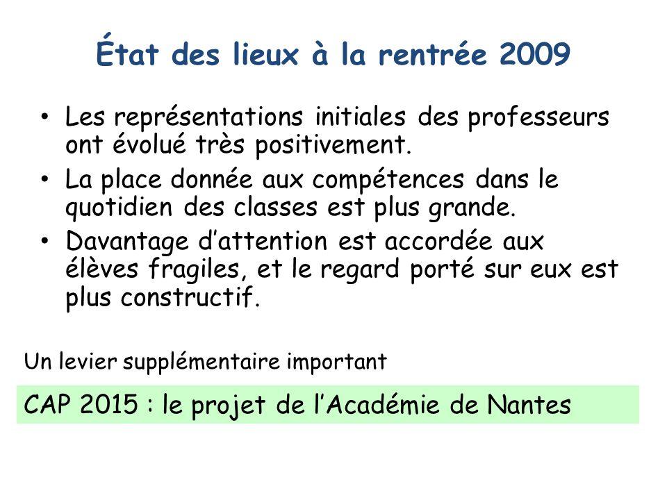État des lieux à la rentrée 2009 Les représentations initiales des professeurs ont évolué très positivement.