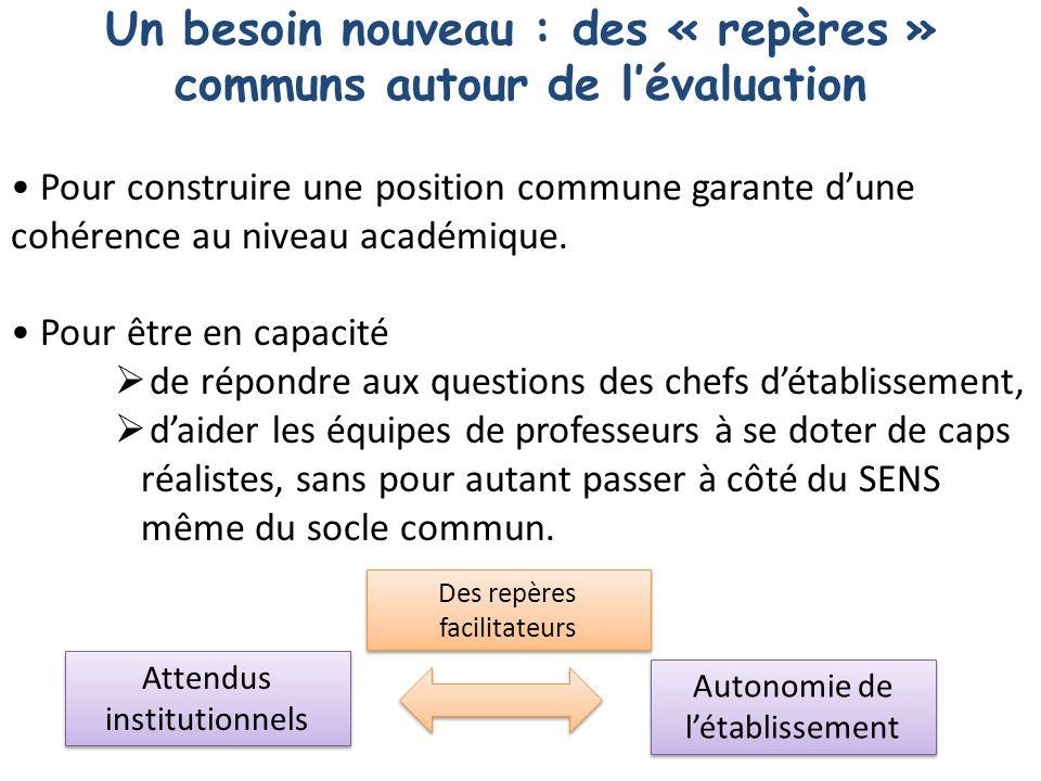Pour construire une position commune garante dune cohérence au niveau académique.