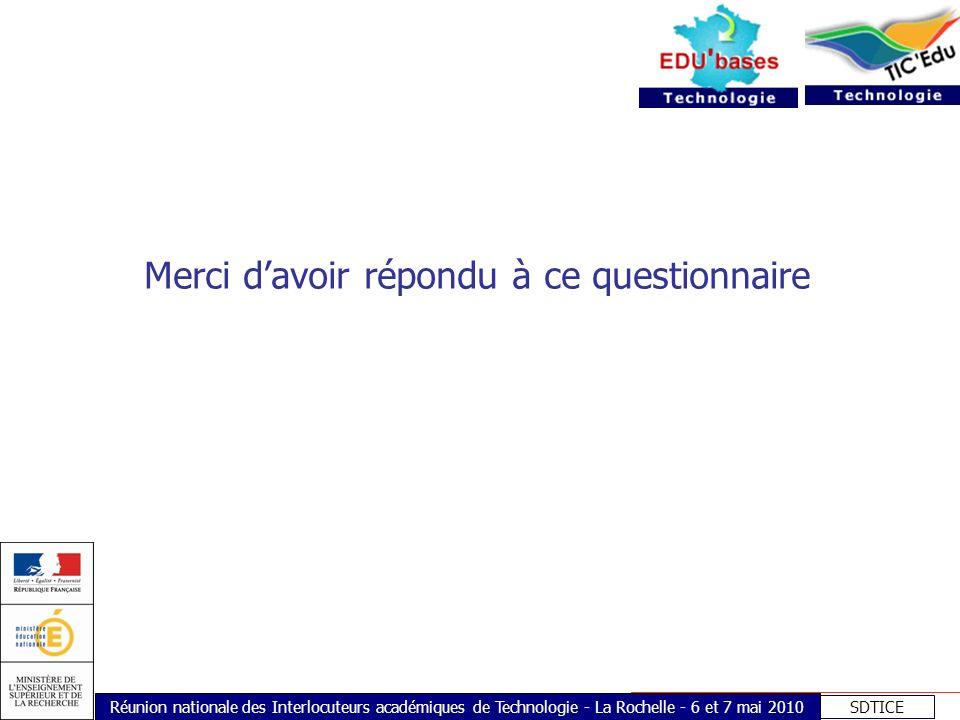 SDTICE Réunion nationale des Interlocuteurs académiques de Technologie - La Rochelle - 6 et 7 mai 2010 Merci davoir répondu à ce questionnaire