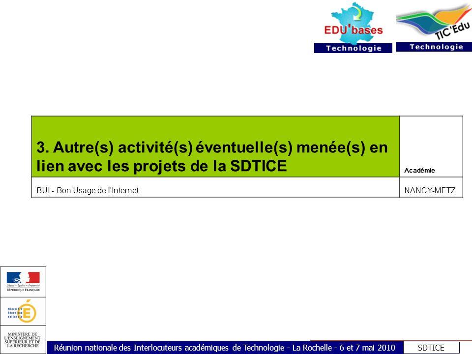 SDTICE Réunion nationale des Interlocuteurs académiques de Technologie - La Rochelle - 6 et 7 mai 2010 3. Autre(s) activité(s) éventuelle(s) menée(s)