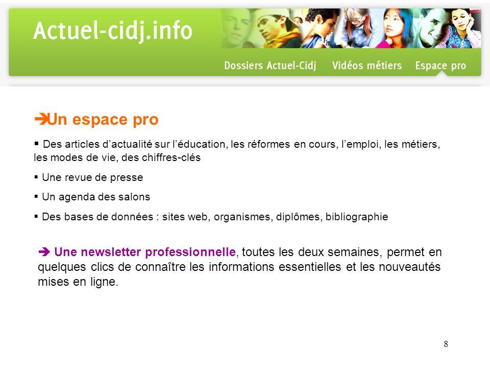 9 Actuel-Cidj version Environnement numérique de travail (ENT) Les ENT des universités de Lyon 2, Lyon 3, Paris 5, Toulon Var, Albi et de la Réunion ainsi que des ENT de lycée proposent laccès à actuel-cidj.info.