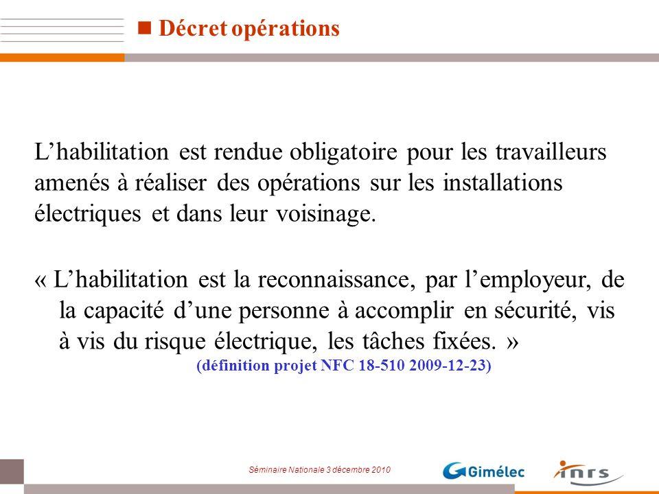 Séminaire Nationale 3 décembre 2010 Lhabilitation est rendue obligatoire pour les travailleurs amenés à réaliser des opérations sur les installations