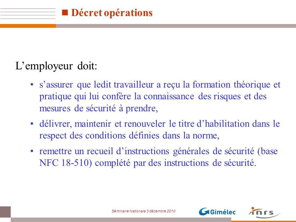 Séminaire Nationale 3 décembre 2010 Lemployeur doit: sassurer que ledit travailleur a reçu la formation théorique et pratique qui lui confère la conna
