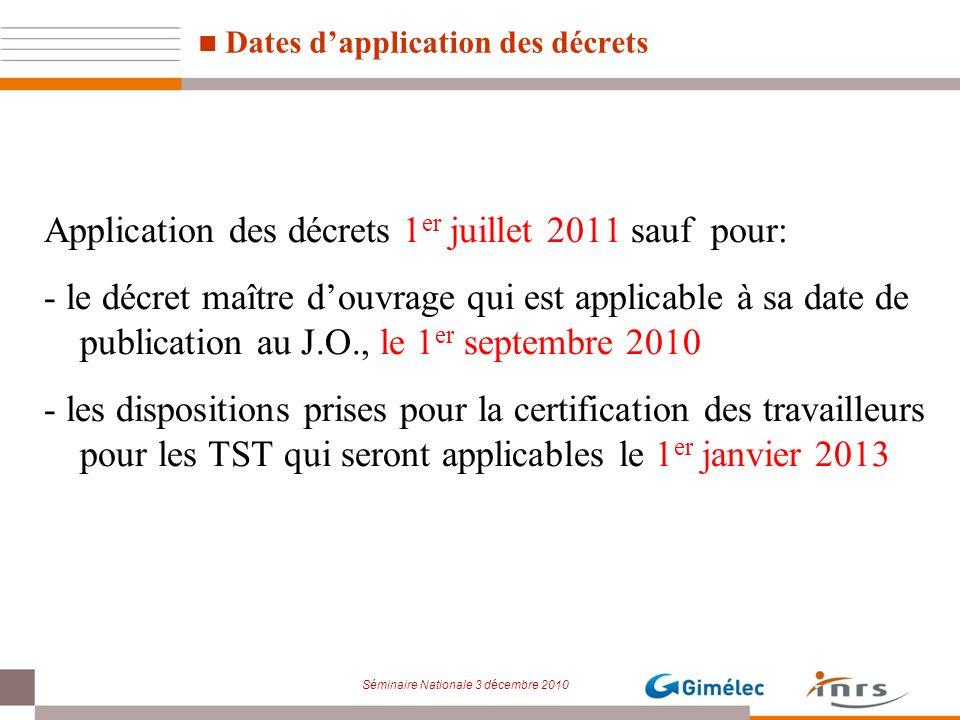 Séminaire Nationale 3 décembre 2010 Dates dapplication des décrets Application des décrets 1 er juillet 2011 sauf pour: - le décret maître douvrage qu