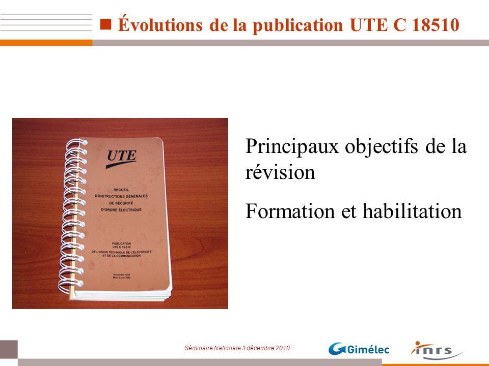 Séminaire Nationale 3 décembre 2010 Évolutions de la publication UTE C 18510 Principaux objectifs de la révision Formation et habilitation