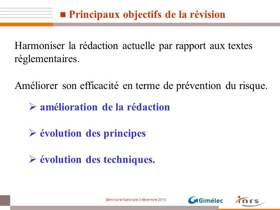 Séminaire Nationale 3 décembre 2010 Principaux objectifs de la révision Harmoniser la rédaction actuelle par rapport aux textes réglementaires. Amélio