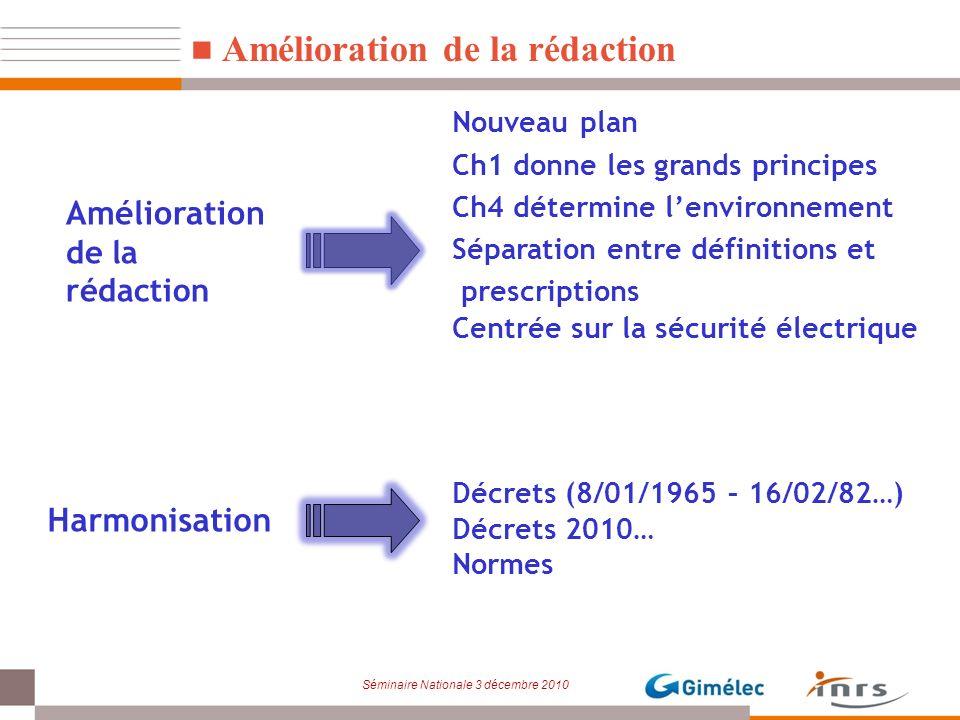 Séminaire Nationale 3 décembre 2010 Amélioration de la rédaction Nouveau plan Ch1 donne les grands principes Ch4 détermine lenvironnement Séparation e