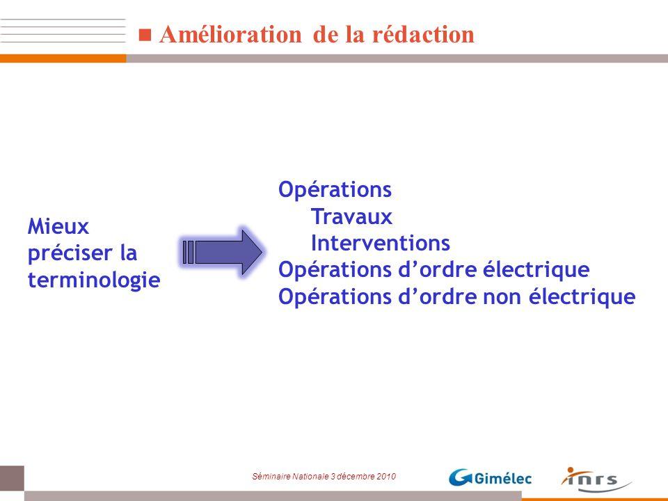 Séminaire Nationale 3 décembre 2010 Amélioration de la rédaction Opérations Travaux Interventions Opérations dordre électrique Opérations dordre non é