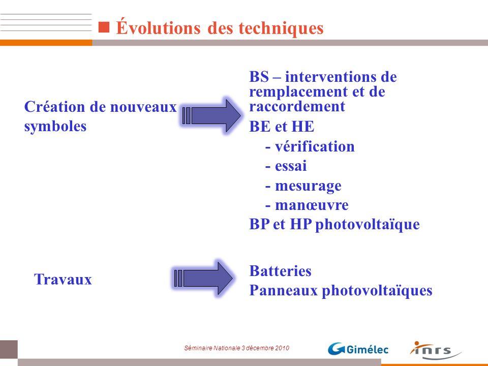 Séminaire Nationale 3 décembre 2010 Évolutions des techniques BS – interventions de remplacement et de raccordement BE et HE - vérification - essai -