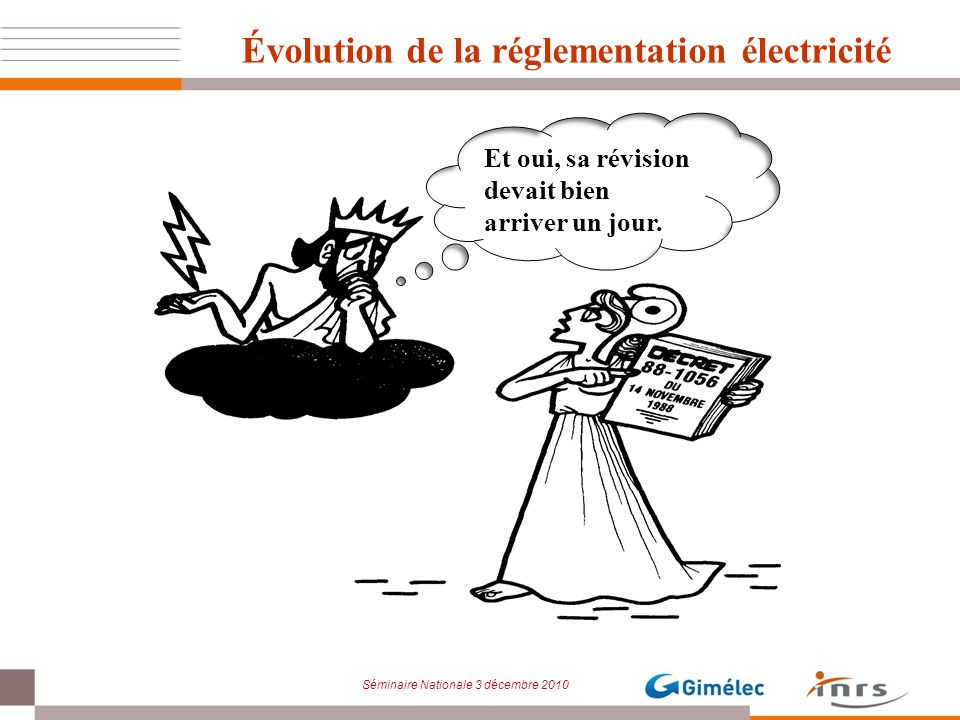 Séminaire Nationale 3 décembre 2010 Évolution de la réglementation électricité Et oui, sa révision devait bien arriver un jour.