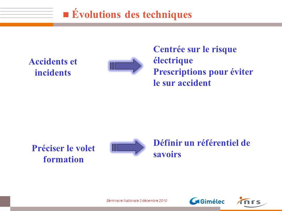 Séminaire Nationale 3 décembre 2010 Évolutions des techniques Accidents et incidents Centrée sur le risque électrique Prescriptions pour éviter le sur