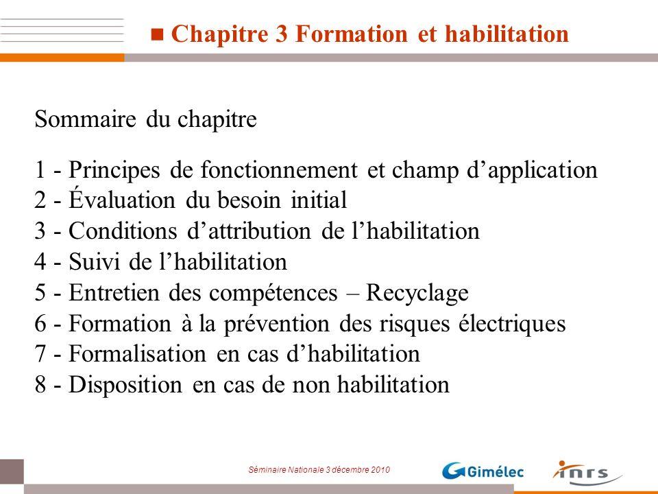 Séminaire Nationale 3 décembre 2010 Chapitre 3 Formation et habilitation Sommaire du chapitre 1 - Principes de fonctionnement et champ dapplication 2
